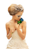 Beuty woman with creative make up. And blue rose isolated on white Stock Image