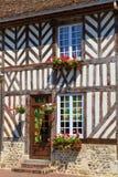 Beuvron-en-Auge, типичный фасад дома Стоковое Фото