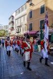Beväpnad marsch för vaktmusikband, Gibraltar Fotografering för Bildbyråer