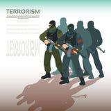 Beväpnad terrorist Group Terrorism Concept Arkivfoto