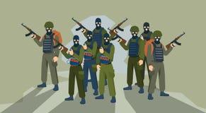Beväpnad terrorist Group Terrorism Concept Arkivbilder