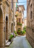 Scenic sight in Bevagna, ancient town in the Province of Perugia, Umbria, central Italy. Bevagna is a town and comune in the central part of the Italian royalty free stock image