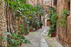Bevagna, Umbria, Italia: vicolo antico Immagini Stock