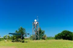 Bevakningsystemkameror på ett torn, Italien Arkivbild
