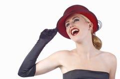 Bevallige dame met grote glimlach Stock Fotografie