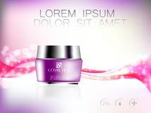 Bevallige kosmetische advertenties, het hydrateren gezichtsroom voor jaarlijkse verkoop De violette fles van het roommasker schit Royalty-vrije Stock Foto's