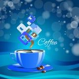 Bevanda blu del cappuccino della tazza del caffè crema Fotografia Stock