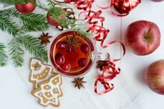 Bevanda calda con i mirtilli rossi ed i biscotti di natale, vista superiore fotografia stock