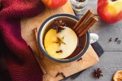 Bevanda calda con le mele fotografie stock libere da diritti