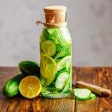 Bevanda con il limone, il cetriolo e la menta fotografie stock libere da diritti