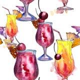 Bevanda del cocktail del partito di Antivari Modello senza cuciture del fondo Immagini Stock Libere da Diritti