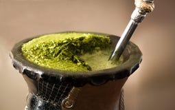Bevanda del tè del compagno del primo piano Fotografia Stock