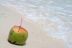 Bevanda della noce di cocco sulla spiaggia Fotografia Stock Libera da Diritti