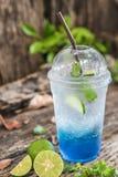 Bevanda della soda dell'Hawai del blu di ghiaccio Fotografia Stock