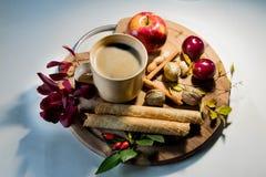 Bevanda di autunno con il libro di frutti e l'umore calmo Fotografia Stock Libera da Diritti