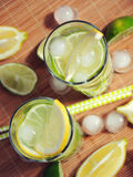 Bevanda di estate con il limone, la limetta, la menta ed il ghiaccio in vetri Fotografia Stock Libera da Diritti