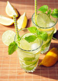 Bevanda di estate con il limone, la limetta, la menta ed il ghiaccio in vetri Fotografia Stock