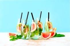 Bevanda di rinfresco di estate del basilico e del pompelmo fotografia stock libera da diritti