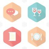 Bevanda di simboli di nozze, carta, alimento Fotografie Stock