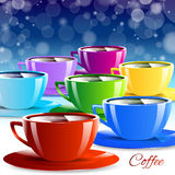 Bevanda differente delle tazze di carta di colore Fotografie Stock