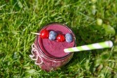 Bevanda fresca del frullato con differenti bacche come prima colazione sana Fotografie Stock Libere da Diritti