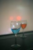 Bevanda rossa e blu della vodka Fotografia Stock