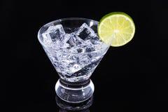 Bevanda scintillante in un vetro di martini con una fetta della calce su un bla Immagine Stock Libera da Diritti