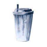 Bevanda in una tazza di carta Isolato su priorità bassa bianca Fotografie Stock Libere da Diritti