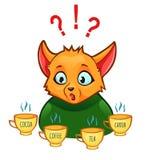 Bevande choising di confusione - latte, coffe, tè, carruba, Coco illustrazione vettoriale