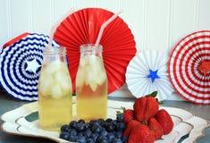Bevande della frutta e del tè di HolidaySummer dell'americano con le bacche Fotografie Stock