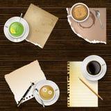 Bevande e note della carta in bianco illustrazione di stock