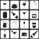 Bevande e raccolta dell'icona delle bevande Immagini Stock