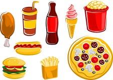Bevande e spuntini degli alimenti a rapida preparazione del fumetto Fotografia Stock