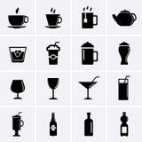 Bevande ed icone delle bevande Fotografia Stock Libera da Diritti