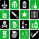 Bevande ed icone delle droghe Fotografie Stock Libere da Diritti