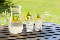 Bevande fredde di estate in giardino Fotografie Stock Libere da Diritti