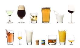 Bevande isolate su priorità bassa bianca immagini stock libere da diritti