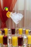 Bevande per un buffet Fotografia Stock
