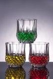 Bevande rosse, gialle e di verde Fotografie Stock
