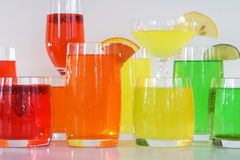 Bevande variopinte del cocktail Fotografia Stock Libera da Diritti