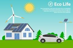 Bevara miljön och att använda förnybara energikällorkällor royaltyfri illustrationer