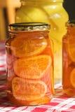 bevarat bottlfruktexponeringsglas Royaltyfri Foto