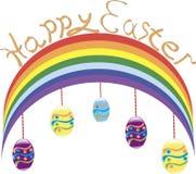 Bevat het beeld van de Pasen-banner met bloemen en eieren Royalty-vrije Illustratie