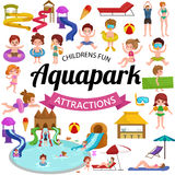 Bevattna aquaparklekplatsen med glidbanor och färgstänkblock för rolig vektorillustration för familj Arkivbild