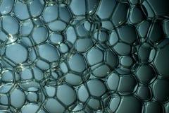 Bevattna bubblar i blått Arkivbild