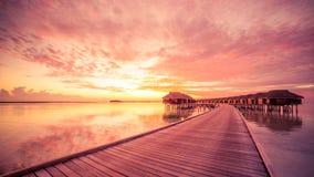 Bevattna bungalower med härlig blå himmel och havet i Maldiverna arkivbild