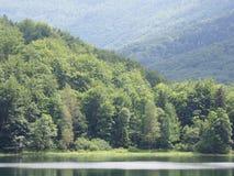 Bevattna reflexionen på sjön på ensamma Beskid berg i Polen Royaltyfria Foton