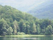Bevattna reflexionen på sjön på ensamma Beskid berg i Polen Royaltyfri Fotografi