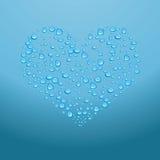 Bevattna tappar på röd hjärta. Vektorillustration Royaltyfri Illustrationer