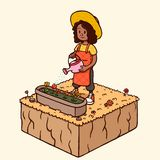 Bevattna trädgårdblomman - svart kvinna i höstsäsong royaltyfri illustrationer